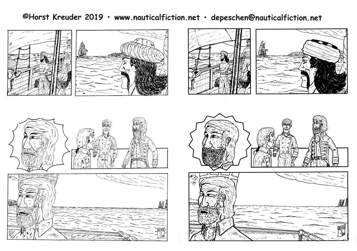 """""""Die Geiseln der Berber"""" Seite 3.  Links Originalfassung 1977 • Rechts als Stiltraining nachgetuschte Fassung"""